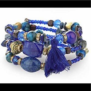 🆕 Wire-Wrapped Beaded Bracelet (Blue)